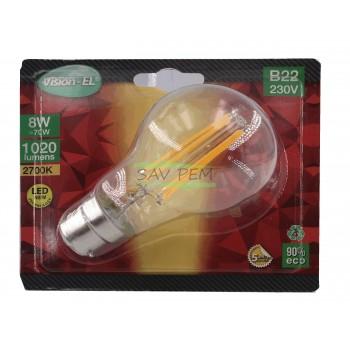 Ampoule LED baionnette B22 - 230 VOLT puissance 8W - 1020 LUMENS - 2700K